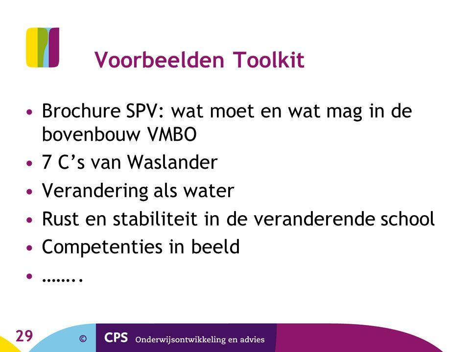 29 Voorbeelden Toolkit Brochure SPV: wat moet en wat mag in de bovenbouw VMBO 7 C's van Waslander Verandering als water Rust en stabiliteit in de vera