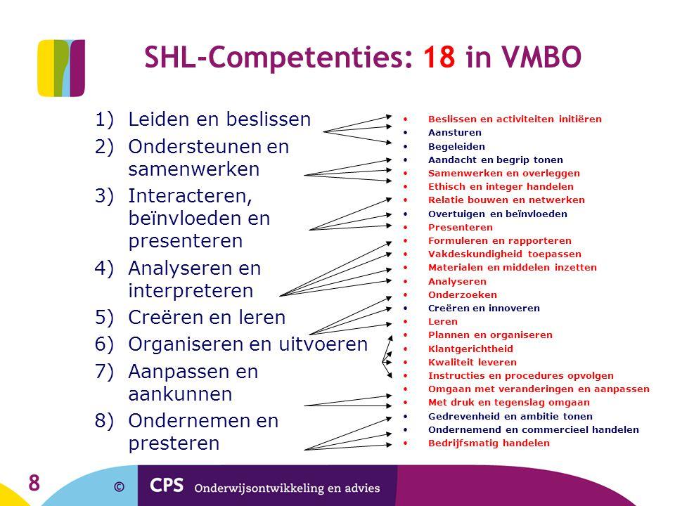 8 SHL-Competenties: 18 in VMBO 1)Leiden en beslissen 2)Ondersteunen en samenwerken 3)Interacteren, beïnvloeden en presenteren 4)Analyseren en interpre