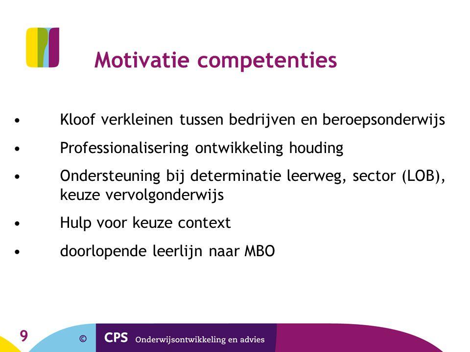 9 Motivatie competenties Kloof verkleinen tussen bedrijven en beroepsonderwijs Professionalisering ontwikkeling houding Ondersteuning bij determinatie