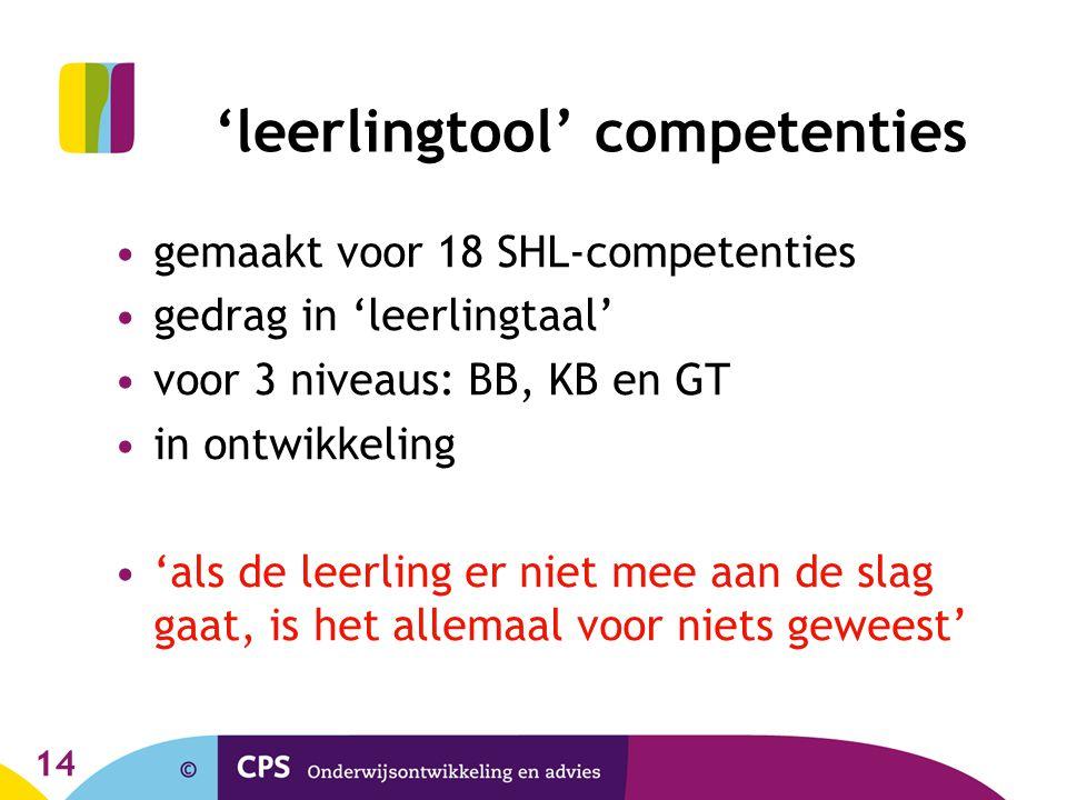 14 'leerlingtool' competenties gemaakt voor 18 SHL-competenties gedrag in 'leerlingtaal' voor 3 niveaus: BB, KB en GT in ontwikkeling 'als de leerling