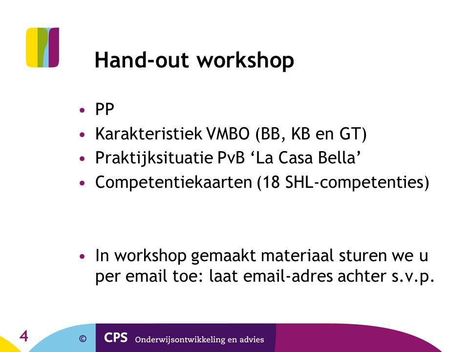 4 Hand-out workshop PP Karakteristiek VMBO (BB, KB en GT) Praktijksituatie PvB 'La Casa Bella' Competentiekaarten (18 SHL-competenties) In workshop ge