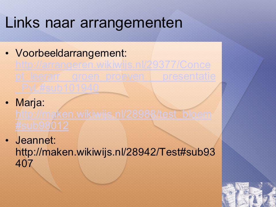 Links naar arrangementen Voorbeeldarrangement: http://arrangeren.wikiwijs.nl/29377/Conce pt_leerarr__groen_proeven___presentatie _PvL#sub101940 http://arrangeren.wikiwijs.nl/29377/Conce pt_leerarr__groen_proeven___presentatie _PvL#sub101940 Marja: http://maken.wikiwijs.nl/28988/test_bloem #sub98012 http://maken.wikiwijs.nl/28988/test_bloem #sub98012 Jeannet: http://maken.wikiwijs.nl/28942/Test#sub93 407