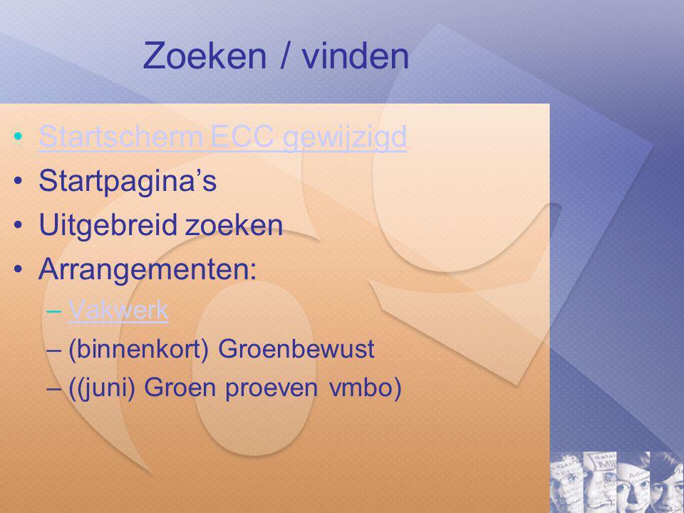 Zoeken / vinden Startscherm ECC gewijzigd Startpagina's Uitgebreid zoeken Arrangementen: –VakwerkVakwerk –(binnenkort) Groenbewust –((juni) Groen proeven vmbo)