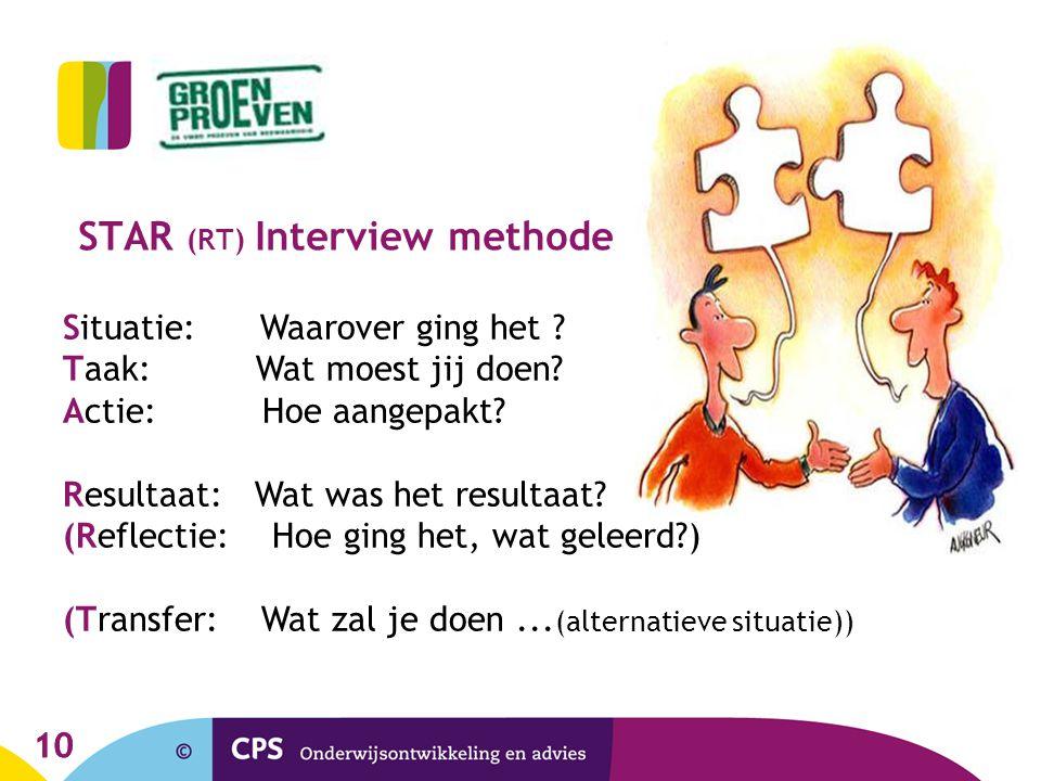10 STAR (RT) Interview methode Situatie: Waarover ging het ? Taak: Wat moest jij doen? Actie: Hoe aangepakt? Resultaat: Wat was het resultaat? (Reflec