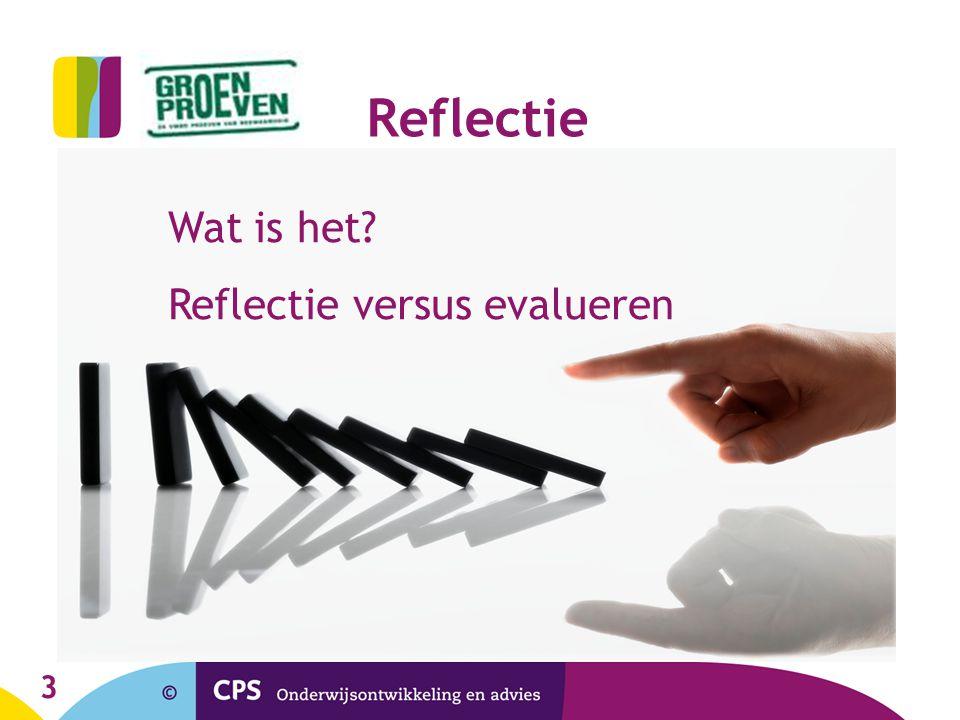 3 Reflectie Wat is het? Reflectie versus evalueren
