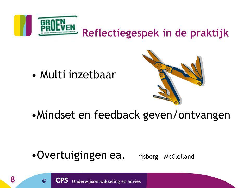 8 Reflectiegespek in de praktijk Multi inzetbaar Mindset en feedback geven/ontvangen Overtuigingen ea. ijsberg - McClelland