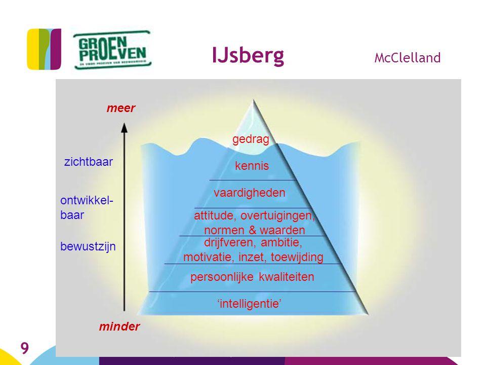 9 IJsberg McClelland kennis gedrag vaardigheden attitude, overtuigingen, normen & waarden persoonlijke kwaliteiten drijfveren, ambitie, motivatie, inz