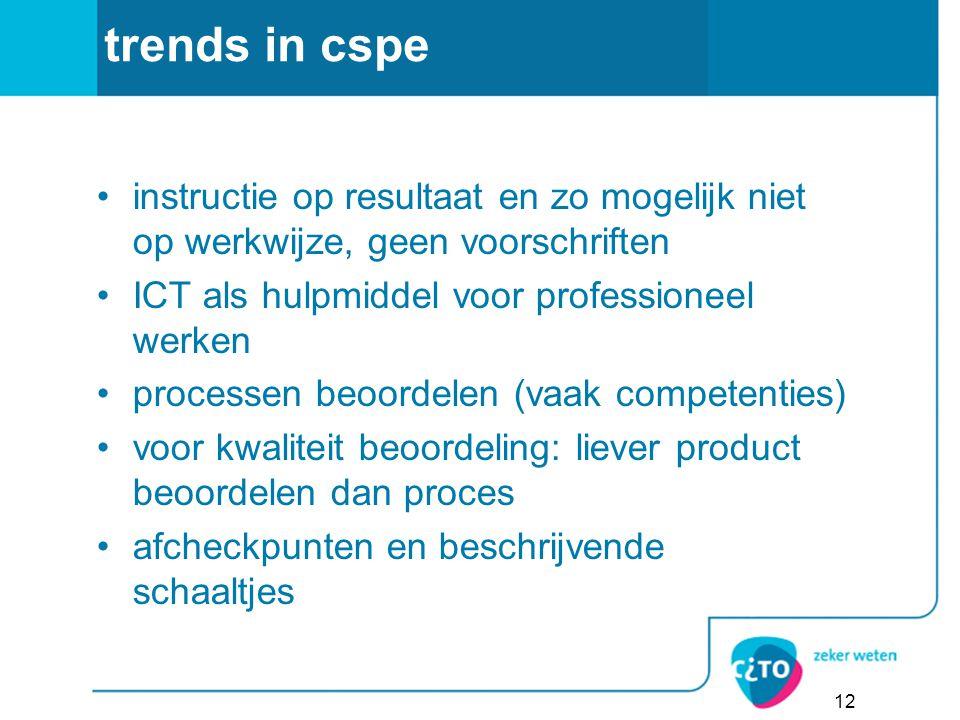 trends in cspe instructie op resultaat en zo mogelijk niet op werkwijze, geen voorschriften ICT als hulpmiddel voor professioneel werken processen beo