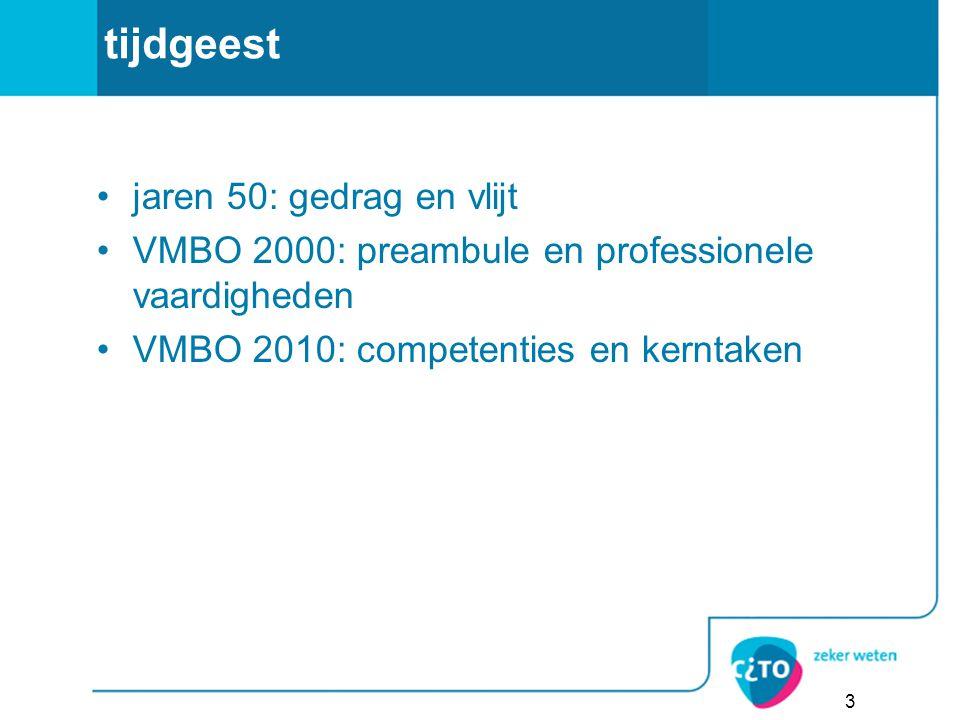 tijdgeest jaren 50: gedrag en vlijt VMBO 2000: preambule en professionele vaardigheden VMBO 2010: competenties en kerntaken 3