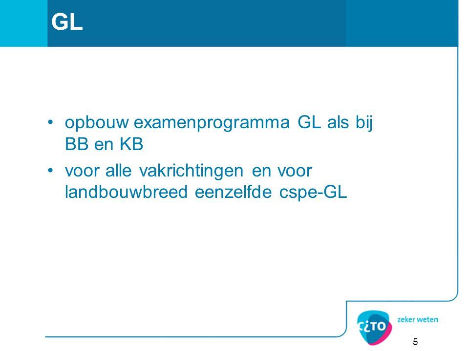GL opbouw examenprogramma GL als bij BB en KB voor alle vakrichtingen en voor landbouwbreed eenzelfde cspe-GL 5