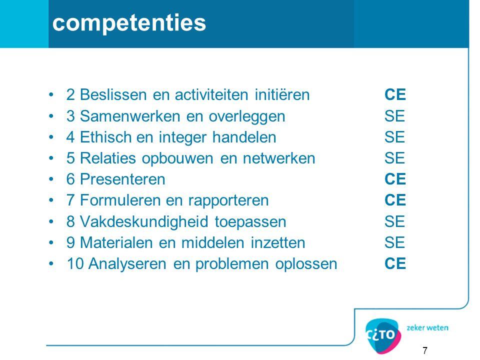 competenties 2 Beslissen en activiteiten initiërenCE 3 Samenwerken en overleggenSE 4 Ethisch en integer handelenSE 5 Relaties opbouwen en netwerkenSE
