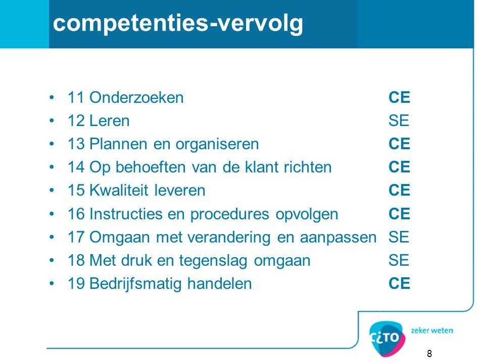 competenties-vervolg 11 OnderzoekenCE 12 LerenSE 13 Plannen en organiserenCE 14 Op behoeften van de klant richten CE 15 Kwaliteit leverenCE 16 Instruc