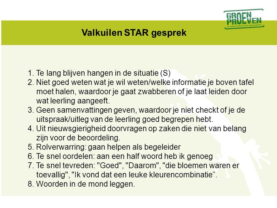 Valkuilen STAR gesprek 1. Te lang blijven hangen in de situatie (S) 2. Niet goed weten wat je wil weten/welke informatie je boven tafel moet halen, wa