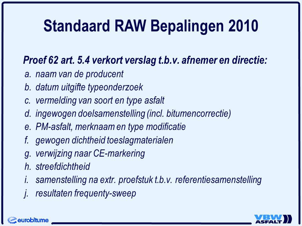 Proef 62 art. 5.4 verkort verslag t.b.v. afnemer en directie: a. naam van de producent b. datum uitgifte typeonderzoek c. vermelding van soort en type