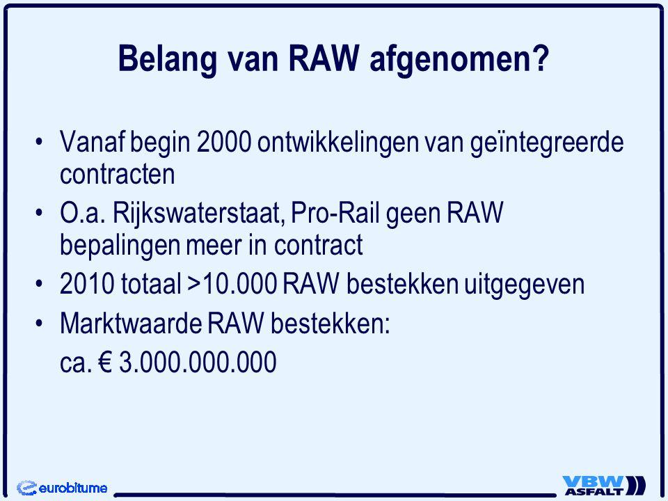 Belang van RAW afgenomen? Vanaf begin 2000 ontwikkelingen van geïntegreerde contracten O.a. Rijkswaterstaat, Pro-Rail geen RAW bepalingen meer in cont