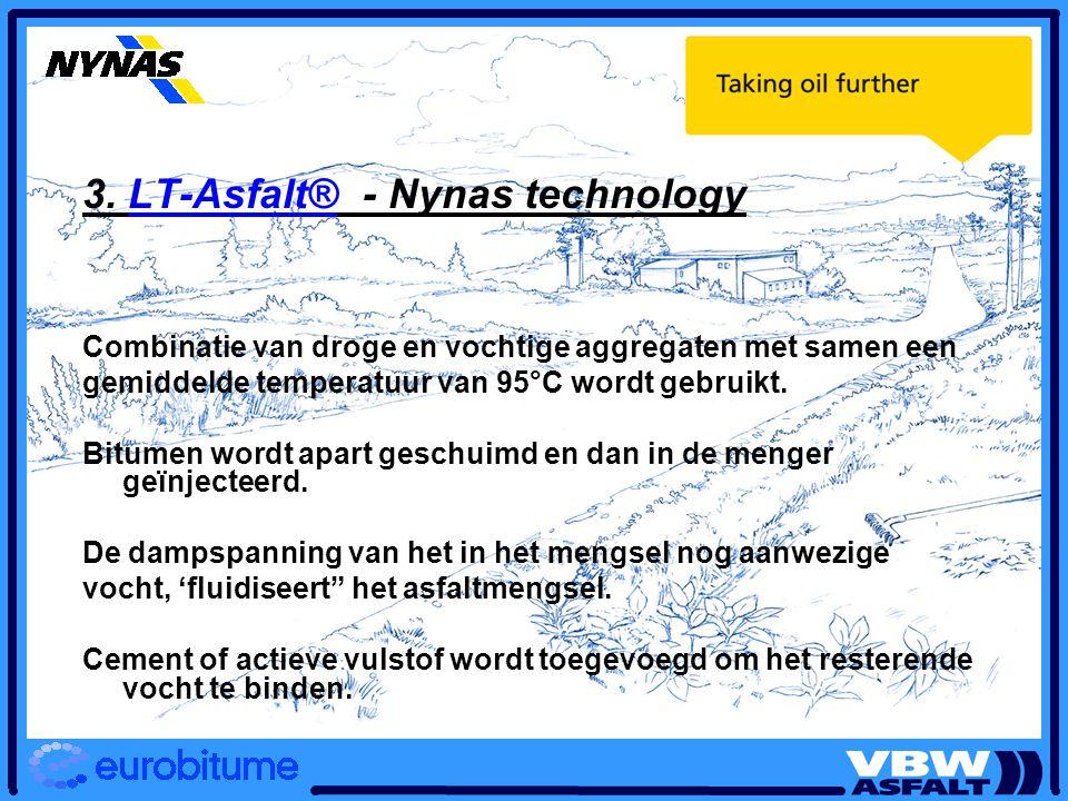 3. LT-Asfalt® - Nynas technology Combinatie van droge en vochtige aggregaten met samen een gemiddelde temperatuur van 95°C wordt gebruikt. Bitumen wor