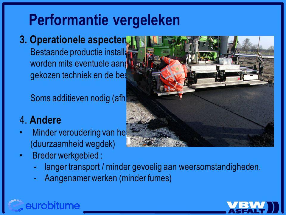Performantie vergeleken 3. Operationele aspecten Bestaande productie installaties en machines kunnen gebruikt worden mits eventuele aanpassingen, die