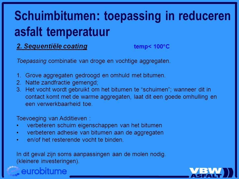 2. Sequentiële coating temp< 100°C Toepassing combinatie van droge en vochtige aggregaten. 1. 1.Grove aggregaten gedroogd en omhuld met bitumen. 2. 2.