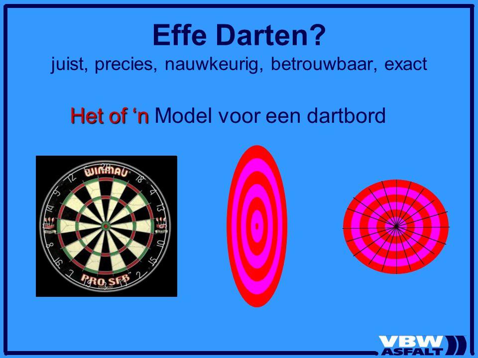 Effe Darten? juist, precies, nauwkeurig, betrouwbaar, exact Het of 'n Het of 'n Model voor een dartbord