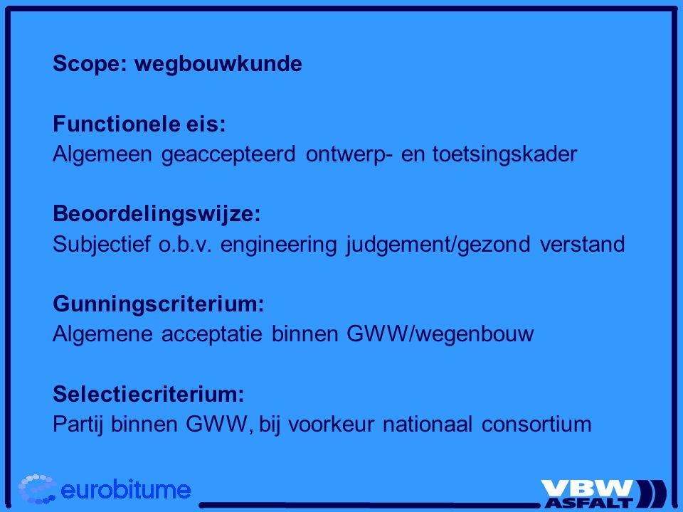 Scope: wegbouwkunde Functionele eis: Algemeen geaccepteerd ontwerp- en toetsingskader Beoordelingswijze: Subjectief o.b.v. engineering judgement/gezon