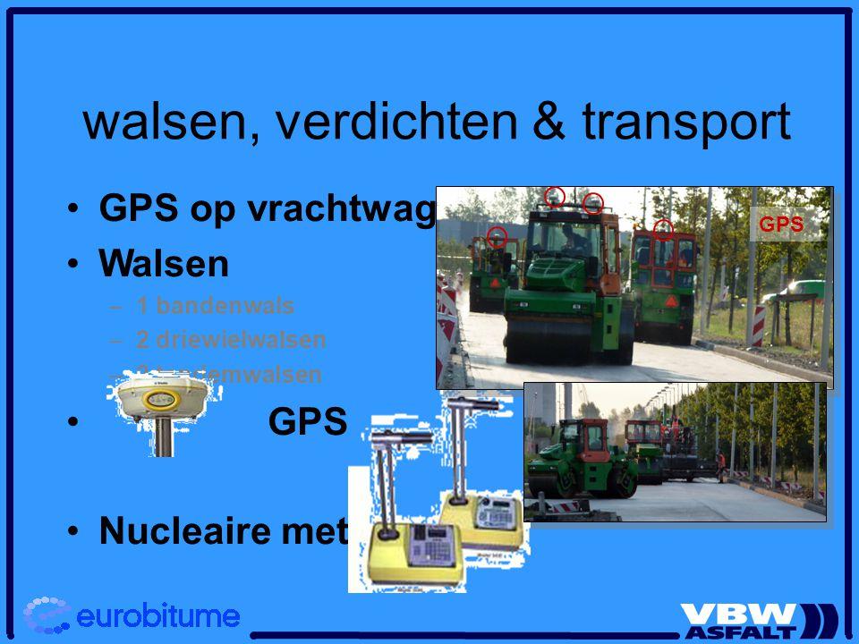 walsen, verdichten & transport GPS op vrachtwagens Walsen – –1 bandenwals – –2 driewielwalsen – –2 tandemwalsen GPS Nucleaire meting GPS