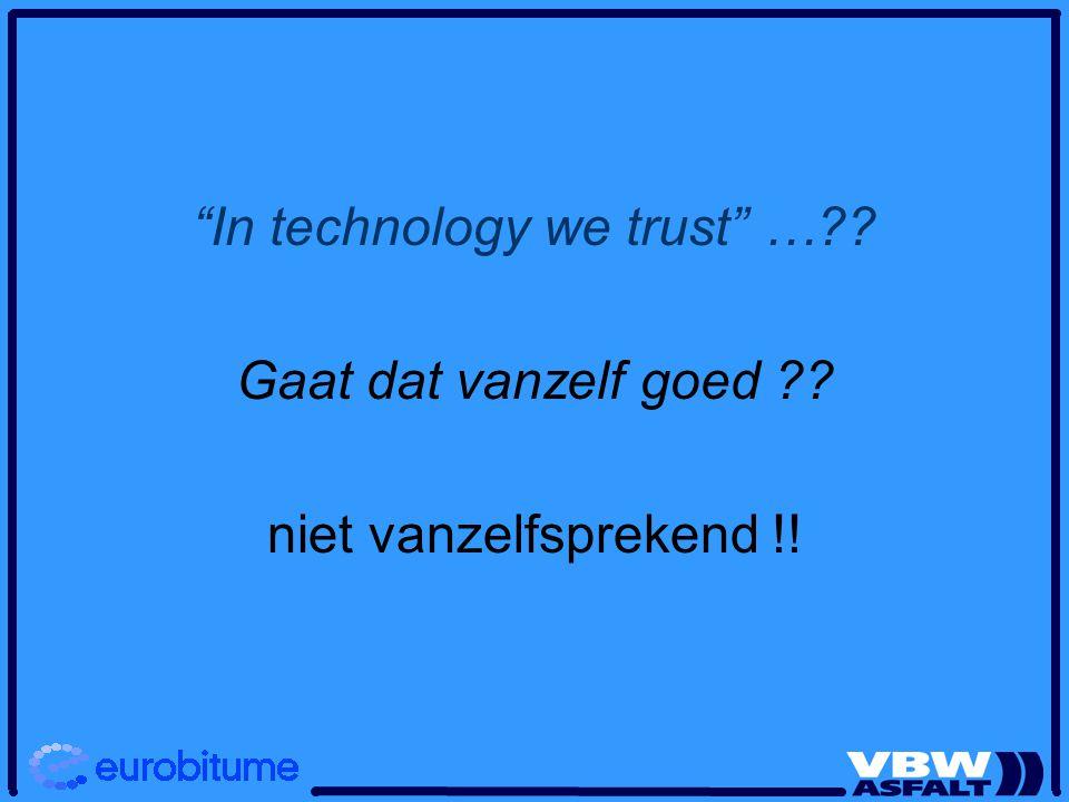 In technology we trust …?? Gaat dat vanzelf goed ?? niet vanzelfsprekend !!