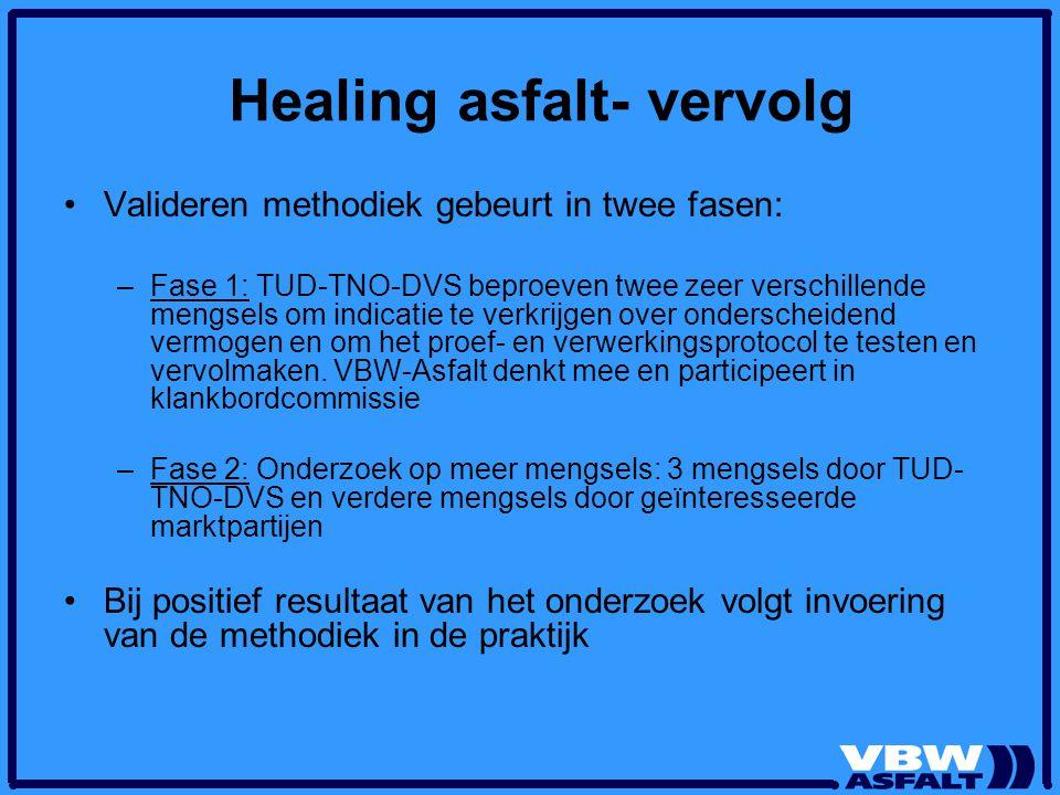 Healing asfalt- vervolg Valideren methodiek gebeurt in twee fasen: –Fase 1: TUD-TNO-DVS beproeven twee zeer verschillende mengsels om indicatie te ver