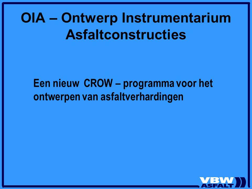 Aanleiding OIA Invoering Europese normen voor asfalt Met in Nederland keuze voor functionele pad Transitie naar besteksvormen met meer ontwerpvrijheden voor de markt Beschikbare ontwerpmethoden voor asfaltverhardingen zijn hier niet optimaal op afgestemd