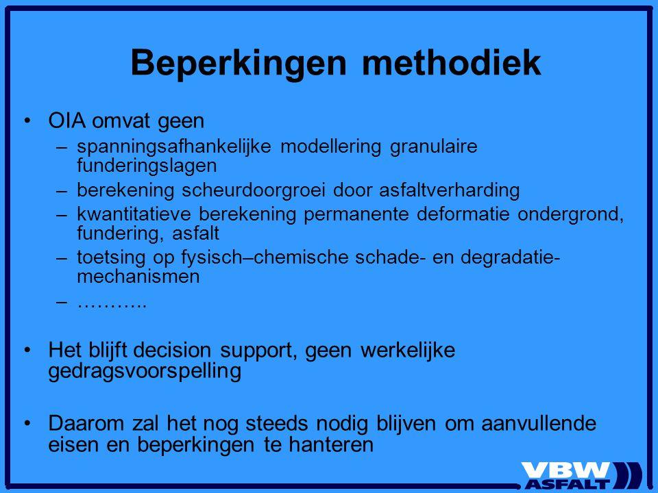 Beperkingen methodiek OIA omvat geen –spanningsafhankelijke modellering granulaire funderingslagen –berekening scheurdoorgroei door asfaltverharding –