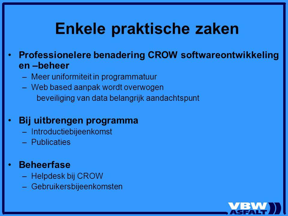 Enkele praktische zaken Professionelere benadering CROW softwareontwikkeling en –beheer –Meer uniformiteit in programmatuur –Web based aanpak wordt ov