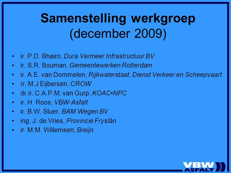 Samenstelling werkgroep (december 2009) ir. P.D. Bhairo, Dura Vermeer Infrastructuur BV ir. S.R. Bouman, Gemeentewerken Rotterdam ir. A.E. van Dommele
