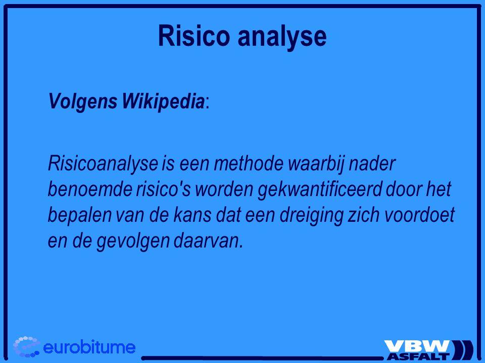 Risico analyse Volgens Wikipedia : Risicoanalyse is een methode waarbij nader benoemde risico s worden gekwantificeerd door het bepalen van de kans dat een dreiging zich voordoet en de gevolgen daarvan.