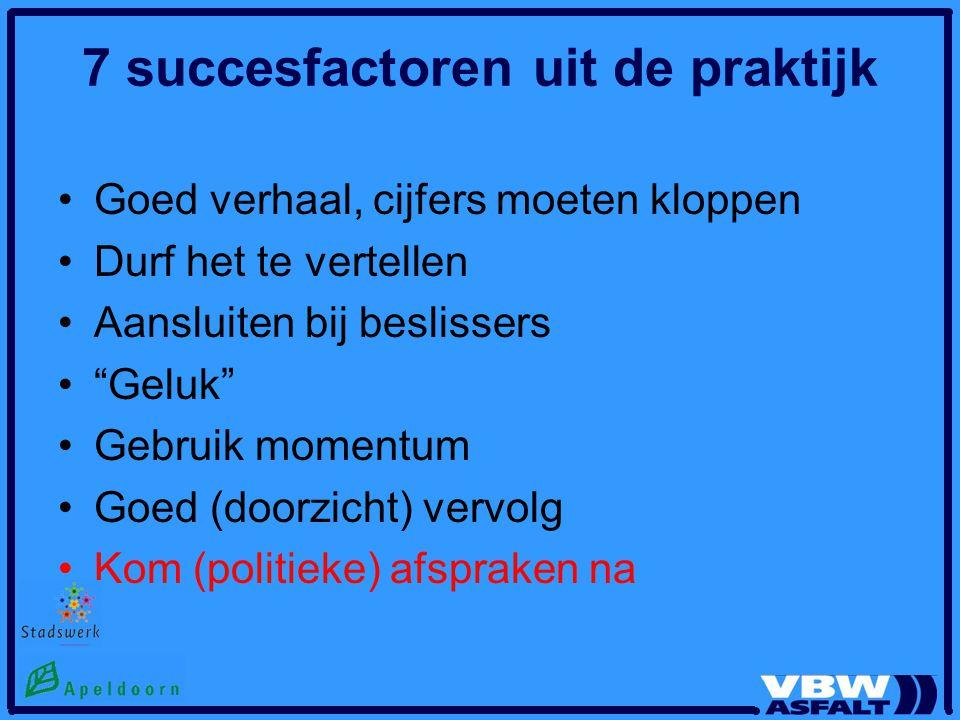 """7 succesfactoren uit de praktijk Goed verhaal, cijfers moeten kloppen Durf het te vertellen Aansluiten bij beslissers """"Geluk"""" Gebruik momentum Goed (d"""