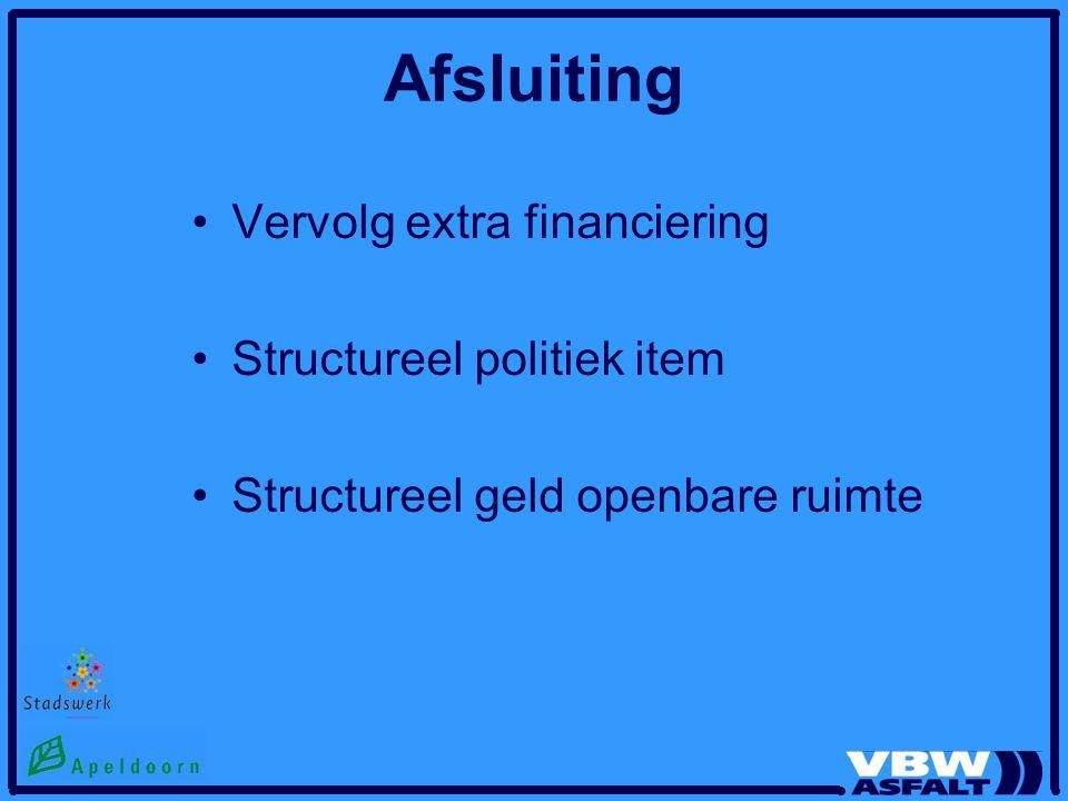 Afsluiting Vervolg extra financiering Structureel politiek item Structureel geld openbare ruimte