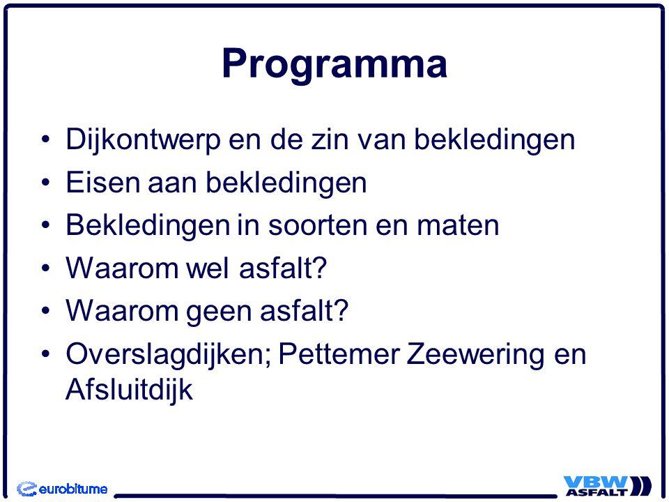 Programma Dijkontwerp en de zin van bekledingen Eisen aan bekledingen Bekledingen in soorten en maten Waarom wel asfalt.