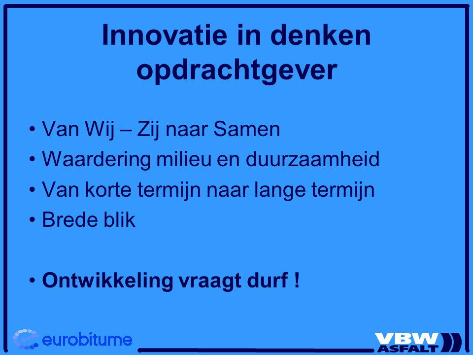 Innovatie in denken opdrachtgever Van Wij – Zij naar Samen Waardering milieu en duurzaamheid Van korte termijn naar lange termijn Brede blik Ontwikkeling vraagt durf !