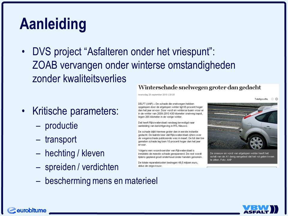 DVS project Asfalteren onder het vriespunt : ZOAB vervangen onder winterse omstandigheden zonder kwaliteitsverlies Kritische parameters: – –productie – –transport – –hechting / kleven – –spreiden / verdichten – –bescherming mens en materieel