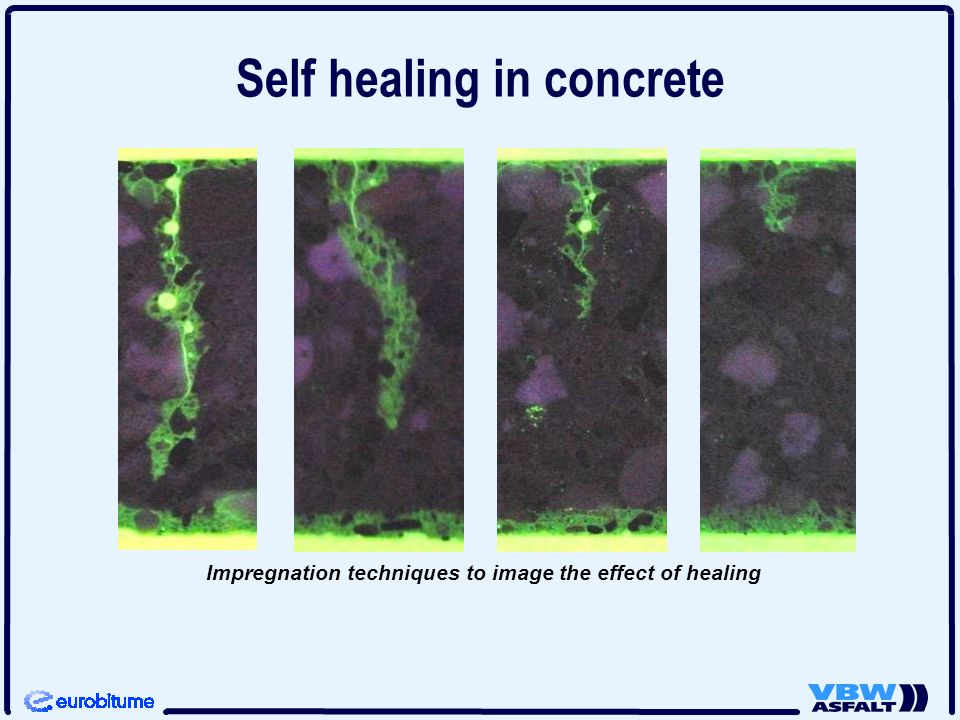 Impregnation techniques to image the effect of healing Self healing in concrete
