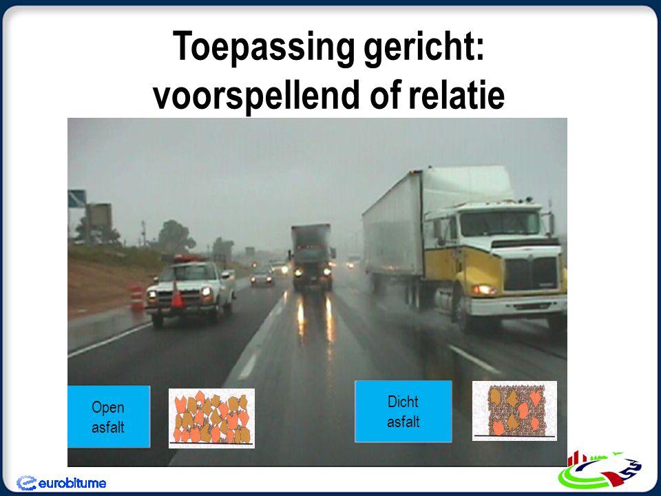 Toepassing gericht: voorspellend of relatie Open asfalt Dicht asfalt