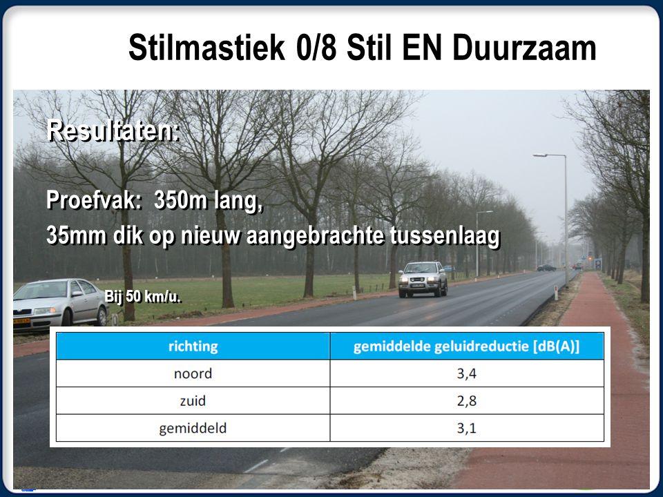 Resultaten: Proefvak: 350m lang, 35mm dik op nieuw aangebrachte tussenlaag Bij 50 km/u.