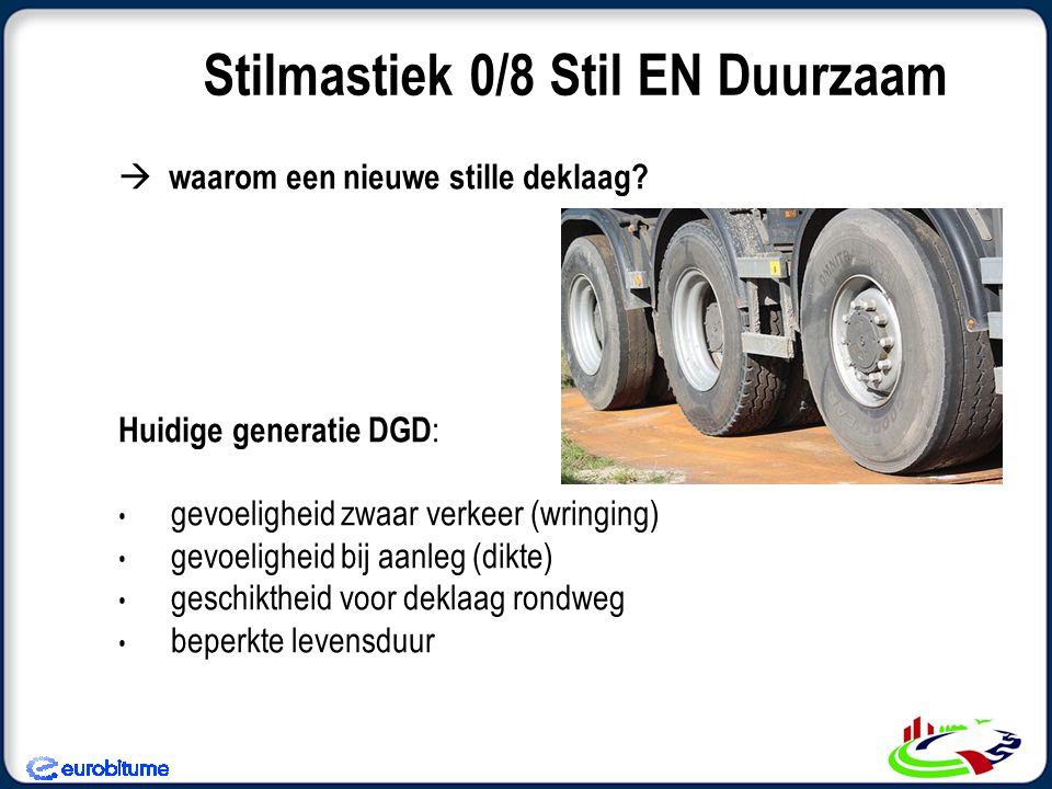 Waarom wijzigen DGD's afgestemd op geluid Reductie, niet op levensduur Behoefte: (blijvende) Geluidsreductie (verbeterde) Levensduur, Goede verwerkingsomstandigheden Mogelijkheden opvang laagdikte variatie Stilmastiek 0/8 Stil EN Duurzaam