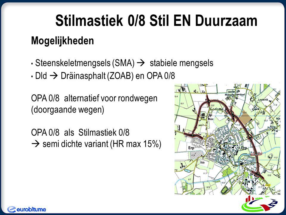 Mogelijkheden Steenskeletmengsels (SMA)  stabiele mengsels Dld  Dräinasphalt (ZOAB) en OPA 0/8 OPA 0/8 alternatief voor rondwegen (doorgaande wegen) OPA 0/8 als Stilmastiek 0/8  semi dichte variant (HR max 15%) Stilmastiek 0/8 Stil EN Duurzaam