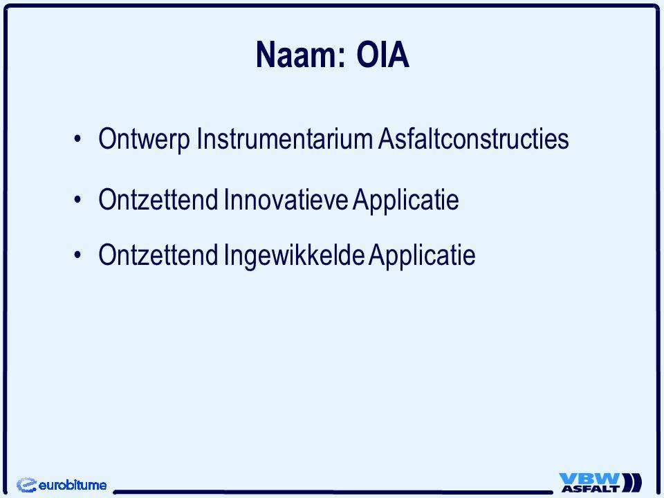 Naam: OIA Ontwerp Instrumentarium Asfaltconstructies Ontzettend Innovatieve Applicatie Ontzettend Ingewikkelde Applicatie