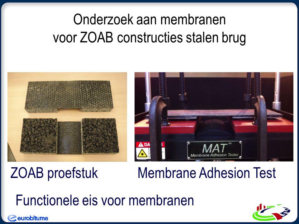 Onderzoek aan membranen voor ZOAB constructies stalen brug Membrane Adhesion TestZOAB proefstuk Functionele eis voor membranen