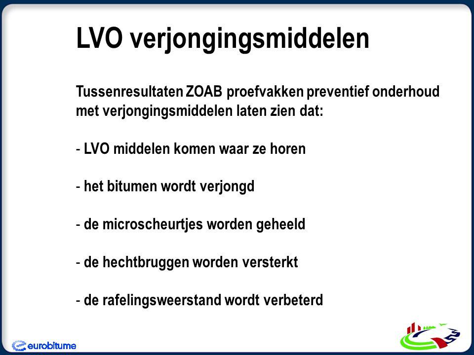 Tussenresultaten ZOAB proefvakken preventief onderhoud met verjongingsmiddelen laten zien dat: - LVO middelen komen waar ze horen - het bitumen wordt verjongd - de microscheurtjes worden geheeld - de hechtbruggen worden versterkt - de rafelingsweerstand wordt verbeterd LVO verjongingsmiddelen