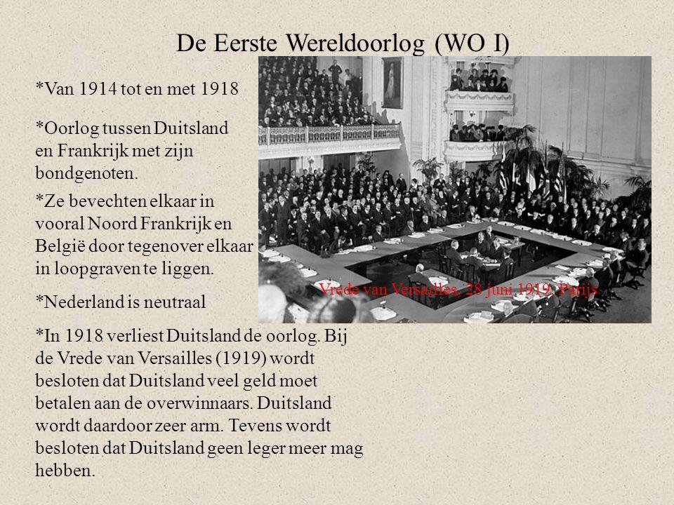 De Eerste Wereldoorlog (WO I) *Van 1914 tot en met 1918 *Oorlog tussen Duitsland en Frankrijk met zijn bondgenoten. *Ze bevechten elkaar in vooral Noo
