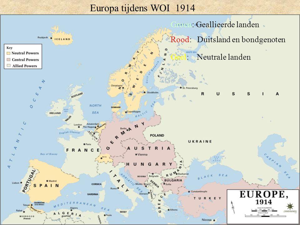 Groen: Geallieerde landen Rood: Duitsland en bondgenoten Geel: Neutrale landen Europa tijdens WOI 1914
