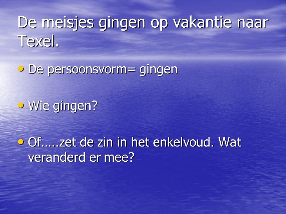Antwoord: De meisjes gingen op vakantie naar Texel. De meisjes gingen op vakantie naar Texel.