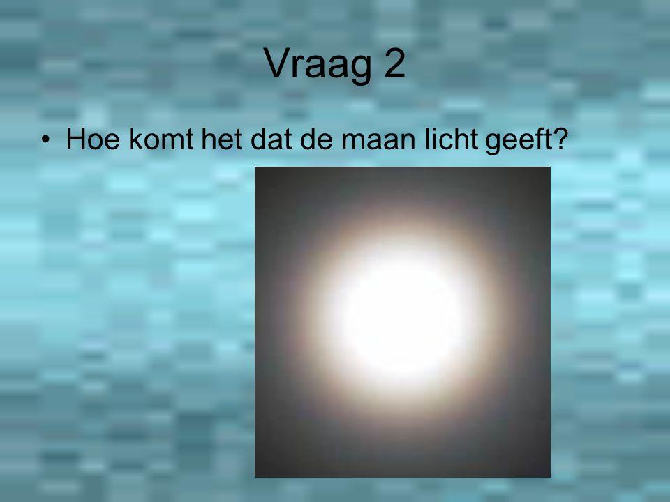 Vraag 2 Hoe komt het dat de maan licht geeft?