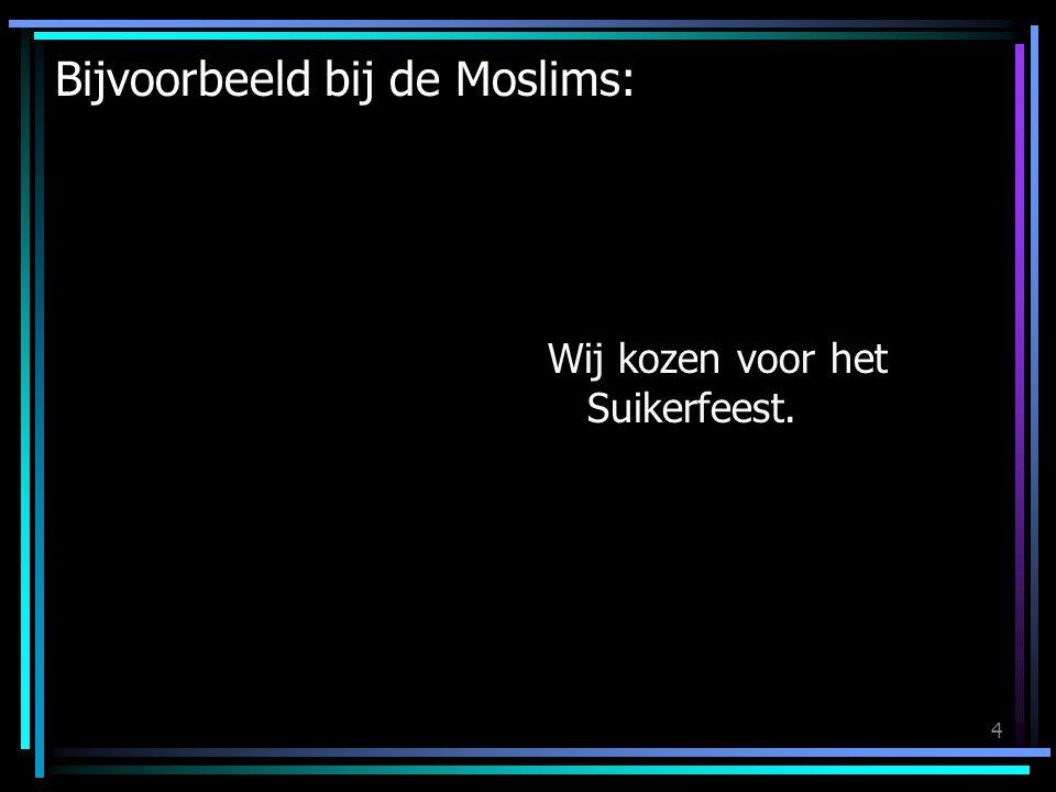 4 Bijvoorbeeld bij de Moslims: Wij kozen voor het Suikerfeest.